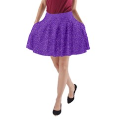 Festive Purple Glitter Texture A Line Pocket Skirt by yoursparklingshop