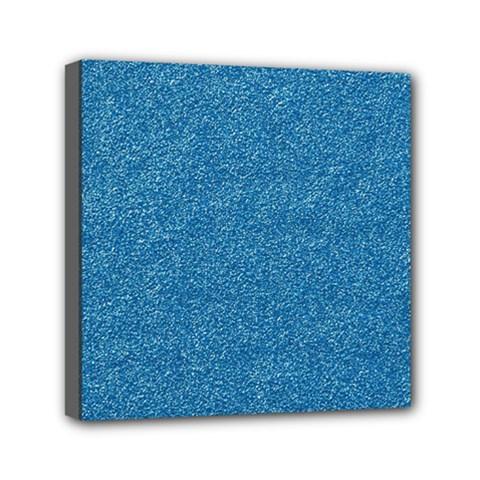 Festive Blue Glitter Texture Mini Canvas 6  X 6  by yoursparklingshop
