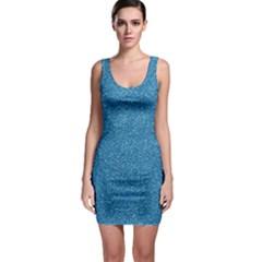 Festive Blue Glitter Texture Sleeveless Bodycon Dress by yoursparklingshop