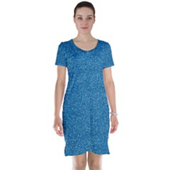 Festive Blue Glitter Texture Short Sleeve Nightdress by yoursparklingshop