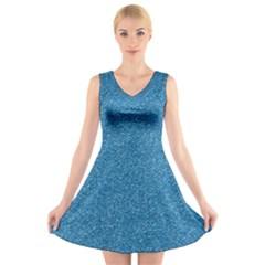 Festive Blue Glitter Texture V Neck Sleeveless Skater Dress by yoursparklingshop