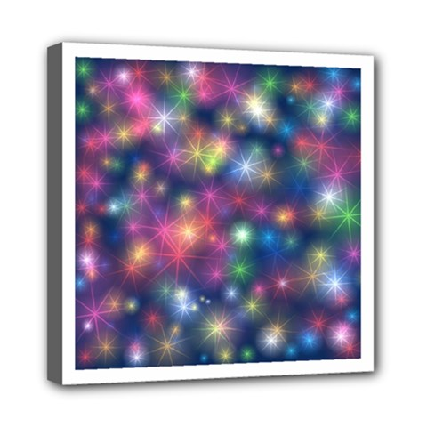 Starlight Shiny Glitter Stars Mini Canvas 8  X 8  by yoursparklingshop