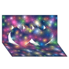 Starlight Shiny Glitter Stars Twin Hearts 3d Greeting Card (8x4)  by yoursparklingshop