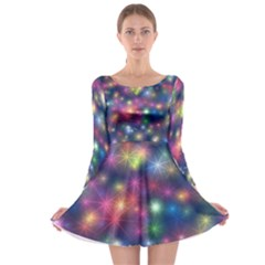 Starlight Shiny Glitter Stars Long Sleeve Skater Dress by yoursparklingshop