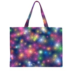 Starlight Shiny Glitter Stars Zipper Large Tote Bag by yoursparklingshop