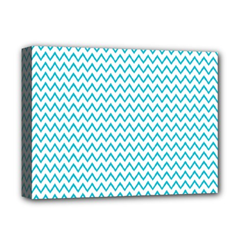 Blue White Chevron Deluxe Canvas 16  X 12   by yoursparklingshop