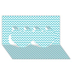 Blue White Chevron Twin Hearts 3d Greeting Card (8x4)