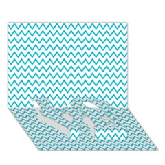 Blue White Chevron Love Bottom 3d Greeting Card (7x5)  by yoursparklingshop