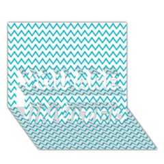 Blue White Chevron You Are Invited 3d Greeting Card (7x5)  by yoursparklingshop