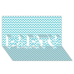 Blue White Chevron Party 3d Greeting Card (8x4)  by yoursparklingshop