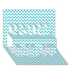 Blue White Chevron You Did It 3d Greeting Card (7x5)