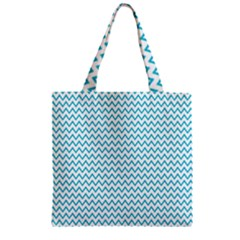 Blue White Chevron Zipper Grocery Tote Bag by yoursparklingshop