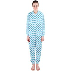 Blue White Chevron Hooded Jumpsuit (ladies)  by yoursparklingshop