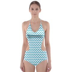 Blue White Chevron Cut-Out One Piece Swimsuit by yoursparklingshop