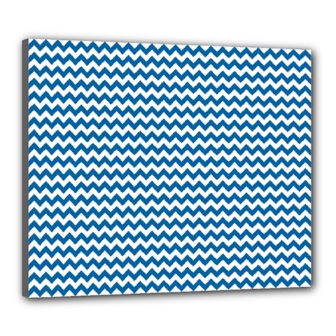 Dark Blue White Chevron  Canvas 24  X 20  by yoursparklingshop