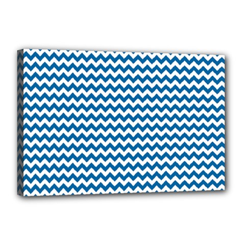 Dark Blue White Chevron  Canvas 18  X 12  by yoursparklingshop