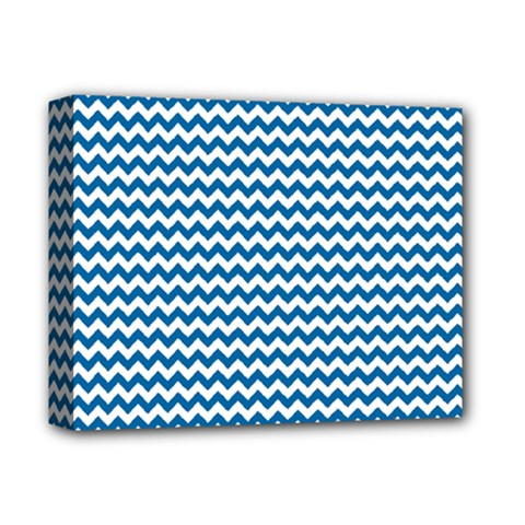 Dark Blue White Chevron  Deluxe Canvas 14  X 11  by yoursparklingshop