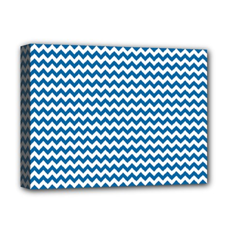 Dark Blue White Chevron  Deluxe Canvas 16  X 12   by yoursparklingshop