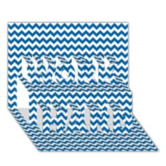 Dark Blue White Chevron  Work Hard 3d Greeting Card (7x5)  by yoursparklingshop