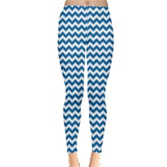 Dark Blue White Chevron  Leggings  by yoursparklingshop