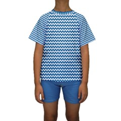 Dark Blue White Chevron  Kid s Short Sleeve Swimwear by yoursparklingshop
