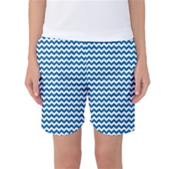 Dark Blue White Chevron  Women s Basketball Shorts by yoursparklingshop