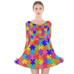 Funny Colorful Puzzle Pieces Long Sleeve Velvet Skater Dress by yoursparklingshop