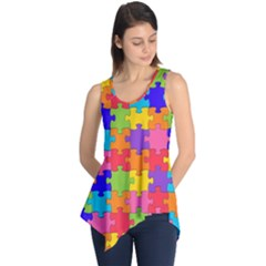 Funny Colorful Puzzle Pieces Sleeveless Tunic