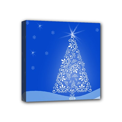 Blue White Christmas Tree Mini Canvas 4  X 4  by yoursparklingshop