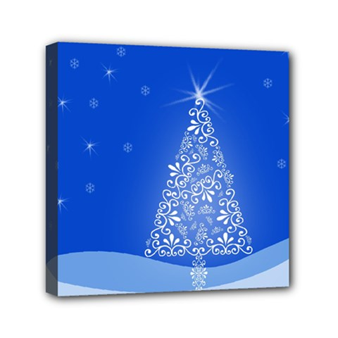 Blue White Christmas Tree Mini Canvas 6  X 6  by yoursparklingshop