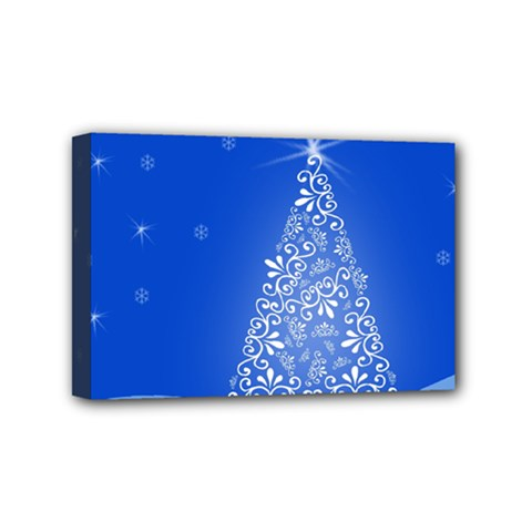 Blue White Christmas Tree Mini Canvas 6  X 4  by yoursparklingshop