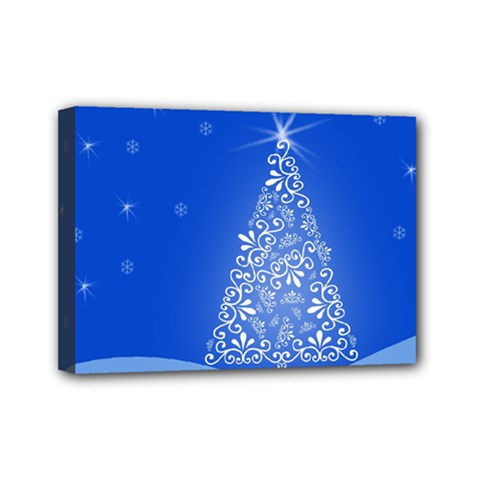 Blue White Christmas Tree Mini Canvas 7  X 5  by yoursparklingshop