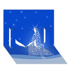 Blue White Christmas Tree I Love You 3d Greeting Card (7x5)  by yoursparklingshop