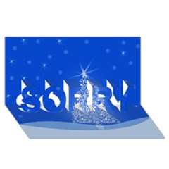 Blue White Christmas Tree Sorry 3d Greeting Card (8x4)  by yoursparklingshop