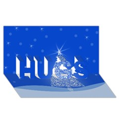 Blue White Christmas Tree Hugs 3d Greeting Card (8x4)  by yoursparklingshop