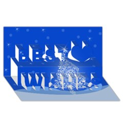Blue White Christmas Tree Best Wish 3d Greeting Card (8x4)  by yoursparklingshop