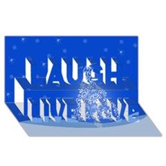 Blue White Christmas Tree Laugh Live Love 3d Greeting Card (8x4)  by yoursparklingshop