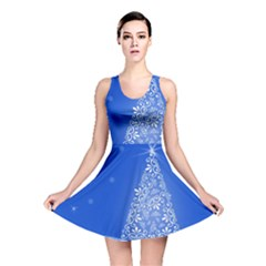 Blue White Christmas Tree Reversible Skater Dress by yoursparklingshop