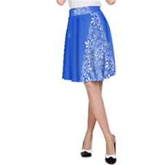 Blue White Christmas Tree A Line Skirt by yoursparklingshop