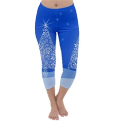 Blue White Christmas Tree Capri Winter Leggings  by yoursparklingshop