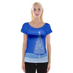 Blue White Christmas Tree Women s Cap Sleeve Top by yoursparklingshop