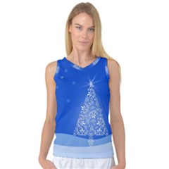Blue White Christmas Tree Women s Basketball Tank Top by yoursparklingshop