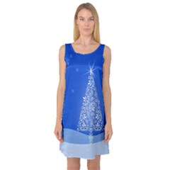 Blue White Christmas Tree Sleeveless Satin Nightdress by yoursparklingshop