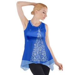 Blue White Christmas Tree Side Drop Tank Tunic by yoursparklingshop