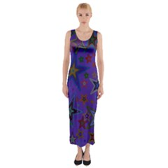 Purple Christmas Party Stars Fitted Maxi Dress by yoursparklingshop