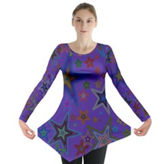 Purple Christmas Party Stars Long Sleeve Tunic  by yoursparklingshop