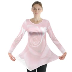 Pink White Love Rose Long Sleeve Tunic