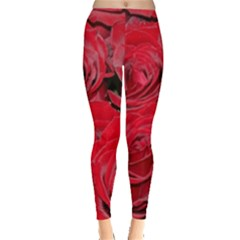 Red Love Roses Leggings  by yoursparklingshop