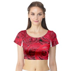 Red Love Roses Short Sleeve Crop Top (tight Fit) by yoursparklingshop