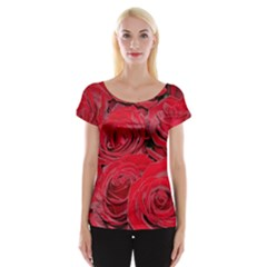 Red Love Roses Women s Cap Sleeve Top by yoursparklingshop